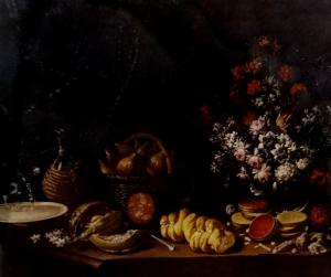 Natura morta con fiori, fichi, melone, pane... metà XVII sec. Pier Francesco Cittadini olio su tela